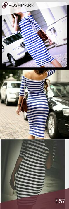 🌼Off The Shoulder Blue/White Striped Pencil Dress Elegant, casual, sexy off the shoulder 3/4 sleeve sheath knee length. Fabric is very stretchy. Spring/Fall pencil dresses. Perfect for the office or outdoor wedding!  This dress is new, without tags. Never been worn!!  Price is negotiable, make me an offer!! 😘💖 Dresses Strapless