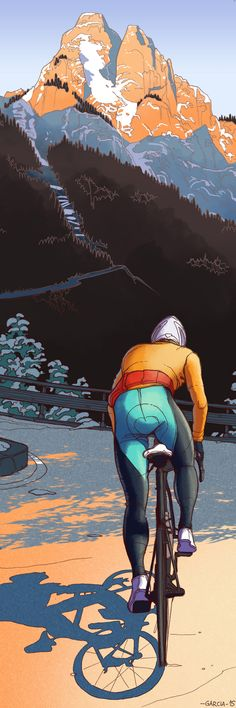 Art by Daniel Garcia- Cycling. (illustration, szosa, calendar, cycling, cyclist, bike, road, mountain)
