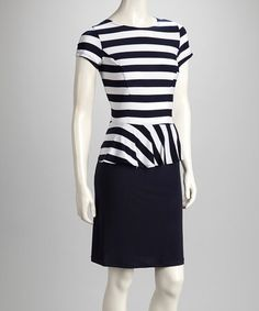 Take a look at this Navy & White Stripe Peplum Dress by Shelby & Palmer on #zulily today!