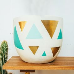 Pop and Scott - Gold Triangle & Mint pot. Needing an indoor plant!