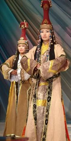 Tuvan (indigenous Turkic peoples of Southern Siberia) women in traditional dress. **