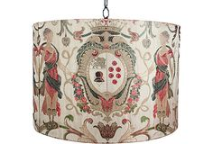 Late-19th-century embroidered silk textile, later transformed into a drum shade for a hanging lantern.