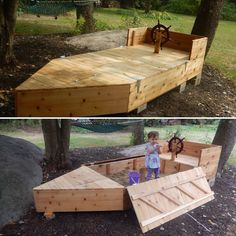 boat shaped sandbox with lid and built in storage compartment for toys (backyard landscaping for kids) Sandbox With Lid, Wooden Sandbox, Sandbox Cover, Backyard Playground, Backyard For Kids, Diy For Kids, Diy Pallet Projects, Outdoor Projects, Kid Pool