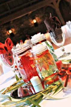 Leaf Centerpieces - Jar - Rustic - Wedding - Allison Peabody Hall - Abe Martin Lodge - Brown County State Park.