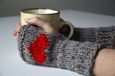 Fingerless gloves, mittens, mitts, tweed, knit, duplicate swiss stitch, heart embroidery, mud, dove grey, small size, woman, children, girl - pinned by pin4etsy.com