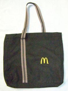 McDonalds Tote Shoulder Bag Gray Black One Strap Multi-Pocket #McDonalds