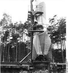 Rail-mounted V-2 rocket, Peenemünde, Germany, 1940s; Source: German Federal Archive; Identification Code: RH8II Bild-B1937-44