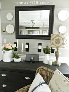 """Paint Colors in Our House: darker stripe -- """"Wood Smoke"""" by Glidden; lighter stripe -- """"Mindful Grey"""" by Benjamin Moore"""