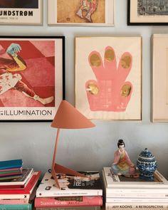 instagram image from @mortilmernee of home gallery and pink task lamp. / sfgirlbybay