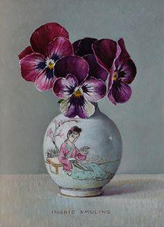 Fabric Painting, Painting & Drawing, Flower Vases, Flower Art, Funeral Flower Arrangements, Still Life Flowers, Still Life Art, China Painting, Pansies