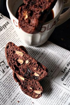 Chocolate almond cocoa biscotti
