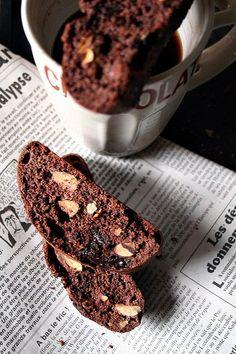 Chocolate almond cocoa biscotti