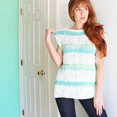 Free beginner knitting pattern shows you how to make this stripe top with open sides.