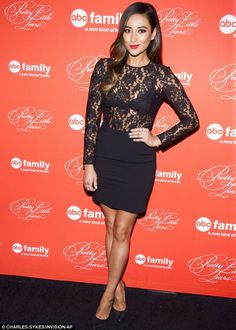 Best dressed @ Pretty Little Liars season finale | Shay Mitchell in a black sheer lace LBD & matching pumps