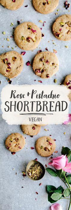 Rose, Pistachio & Olive Oil Shortbread (Vegan)