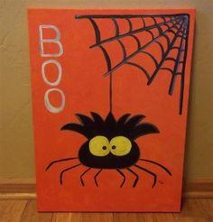 Halloween Spider Painted Canvas