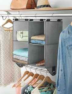Whitmor 4 Section Fabric Closet Organizer Shelving with Built In Chrome Garment Rod Hanging Closet Organizer, Hanging Storage, Hanging Shelves, Closet Rod, Closet Storage, Closet Organization, Organization Ideas, Home Organizer Ideas, Organizer Planner