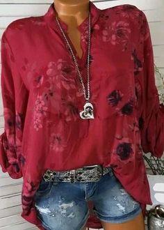 308dfa7c072 Autumn Fashinable White Basic Plus Size Floral Blouses   Shirt Tops