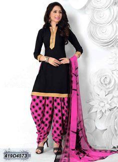 Delightful Black Coloured Crepe unstitched Patiala salwar suit