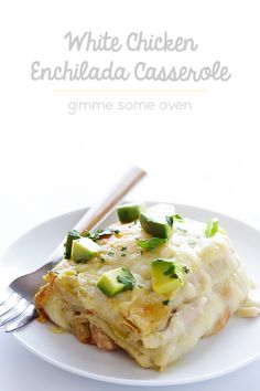 """This White Chicken Enchilada Casserole (a. """"Stacked White Enchiladas"""") are made with a lighter, creamy sauce that everyone will love! Mexican Food Recipes, New Recipes, Dinner Recipes, Cooking Recipes, Healthy Recipes, Mexican Dishes, Drink Recipes, Easy Recipes, Recipies"""