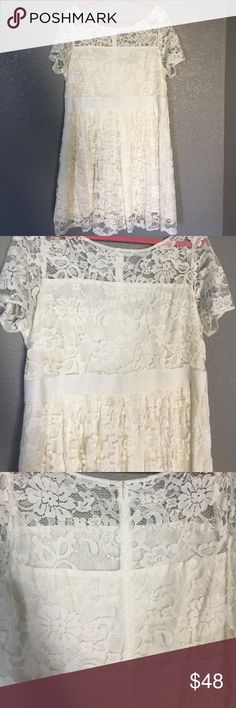 ⚡️SALE!⚡️ModCloth Adrift on a Cloud Dress Modcloth white lace dress, zipper closure, purchased for a photoshoot so only worn once for the shoot. Beautiful and well made! Stock photo included (photo 4). ModCloth Dresses