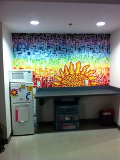The paint chip art in my dorm room!