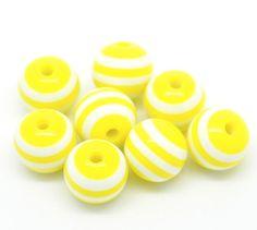 25 Perles Jaunes 10mm en résine - Perles rayées jaunes : Perles en Plastique par 1euro