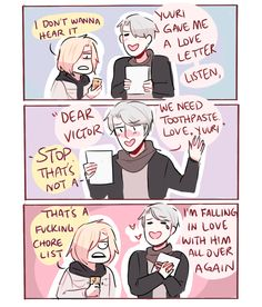 domestic!victuuri concept: victor totally collects his husband's chore list and calls it a love letter (based on this tweet)