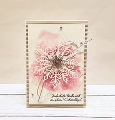 Christmas cards full of snowflakes Chrismas Cards, Christmas Cards 2018, Stampin Up Christmas, Xmas Cards, Christmas Greetings, Diy Christmas Snowflakes, Snowflake Cards, Pink Christmas, Handmade Christmas