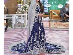 Heavy Embroidered Blue Chiffon Bridal Maxi Dress Price in Pakistan is with Free Home Delivery ✔ Shop Womens Clothing, Womens Dresses, Ch. Pakistani Maxi Dresses, Dulhan Dress, Pakistani Outfits, Pakistani Clothing, Chiffon Dresses, Maxi Dress Wedding, Blue Wedding Dresses, Wedding Hijab Styles, Fancy Suit