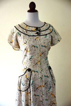 Vintage 1940s Art Deco Novelty Print Horses Dress. $45.00, via Etsy.