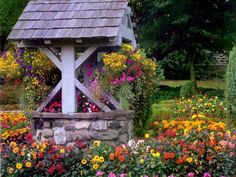 I love wishing wells.remind me of Mom & the good things from my childhood.Garden Wishing Well - landscape, wishing well, yard, garden, flowers Garden Art, Summer Garden, Garden Pictures, Outdoor Gardens, Beautiful Gardens, Garden, Wishing Well Garden, Outdoor, Backyard