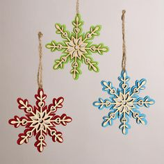 One of my favorite discoveries at WorldMarket.com: Wood and Felt Snowflakes, Set of 3