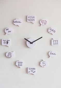 Tick Talk Clock, #ModCloth  Inspiration for an easy project, could help with teaching elapsed time to the little one.