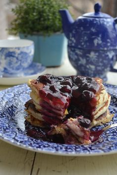 Corn Pancakes with Balsamic Blueberry Sauce - For richer, more intense ...