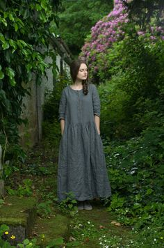Grey Linen Long Dress by KnockKnockLinen on Etsy, £125.00