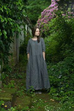 Grey Linen Long Buttoned Dress