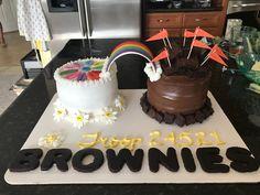 Daisies bridging to Brownies cake