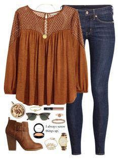 A fashion look from October 2015 featuring H&M blouses, H&M jeans and Charlotte Russe ankle booties. Browse and shop related looks. Mode Outfits, Jean Outfits, Fashion Outfits, Casual Teen Fashion, Womens Fashion, Outfit Jeans, Fall Winter Outfits, Autumn Winter Fashion, Bohemian Fall Outfits