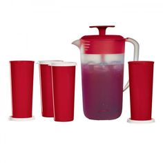 www.dakotahdameskitchen.com  Tupperware Essentials Beverage Set:          Pour up refreshments for the whole family. Includes 2-qt./2 L Stirring Pitcher and set of four exclusive 16-oz./470 mL tumblers with liquid-tight seals.   Dishwasher safe  Limited Lifetime Warranty      Item:10128031000