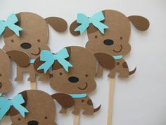 Puppy Dog Cupcake Toppers - Aqua and Brown - Girl Birthday Party Decorations - Girl Baby Showers - Set of 6 by Whimsiesbykaren on Etsy Puppy Birthday Parties, Birthday Party Decorations, Girl Birthday, Cupcake Picks, Cupcake Toppers, White Puppies, Dogs And Puppies, Puppy Dog Cupcakes, Shower Set