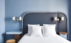 View photos of Hotel Bienvenue, a contemporary design hotel in Paris's district, near the Opera Garnier. A new Adrien Gloaguen hotel. Bedroom Furniture, Furniture Design, Bedroom Decor, Bedroom Ideas, Website Hotel, Hotel Paris, Paris Paris, Paris Hotels, Head Boards
