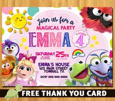 Muppet Babies invitation - Muppet Babies Birthday invitation - Muppet Babies Invite Muppet Babies, Disney Junior Birthday, Baby Girl Birthday, Baby Invitations, Birthday Party Invitations, 3rd Birthday Parties, Birthday Ideas, Delivery, Buy 1