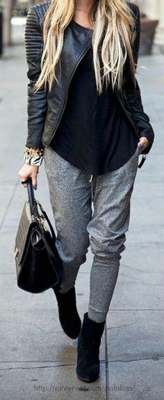 Never thought you could pair sweat pants with heels...I'm obsessed!