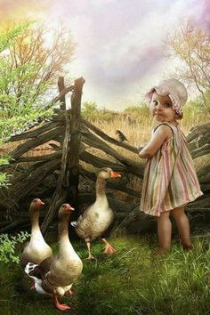 ART~ Adorable Little Girl With LittlebBird And Ducks.