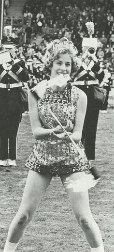 Drum majorette during halftime show of 1964