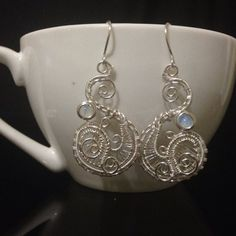 Silver and Opal earrings Wire Wrapped Jewelry by AOAjewelry, $25.52
