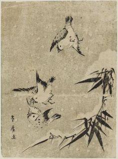 Utagawa Toyohiro, three sparrows and snow-covered bamboo, Japanese, Edo period.