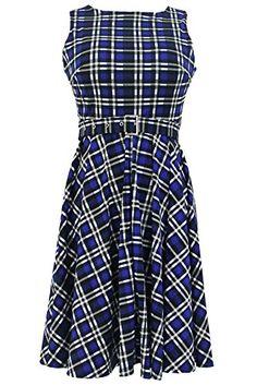 760ce2c4093b0 Gloria Sarah Women s Vintage Checkered Print Retro Swing Dress, Blue, Large  at Amazon Women s Clothing store