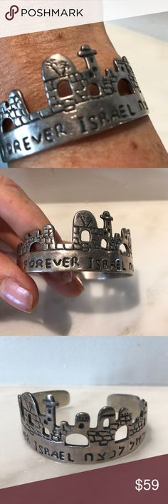 """Forever Israel SS Signed Bracelet NOT Made by Israeli Artist Hadaya.  It is signed & has number 925 on it.   It says Forever Israel in Hebrew & in English with The city of Jerusalem cut out.  Very unique! Adjustable cuff.  Measures 1"""" at its widest part. Hadaya Jewelry Bracelets"""